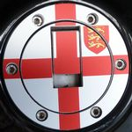 "TRIUMPH Petrol/Gas Cap. Aluminium Tank Decal 'Six Screw' ""St George Cross"""